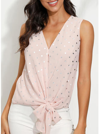 PolkaDot V-Neck Sleeveless Casual Tank Tops