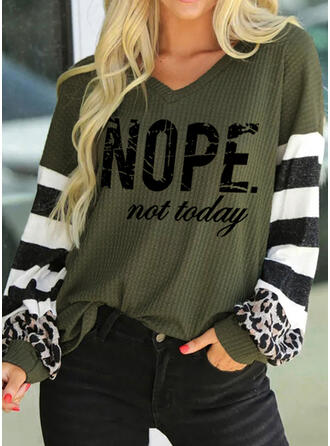 Print Striped Leopard Figure V-Neck Long Sleeves Casual Knit Blouses
