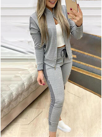 Patchwork Plaid Plus Size Casual Sporty Suits