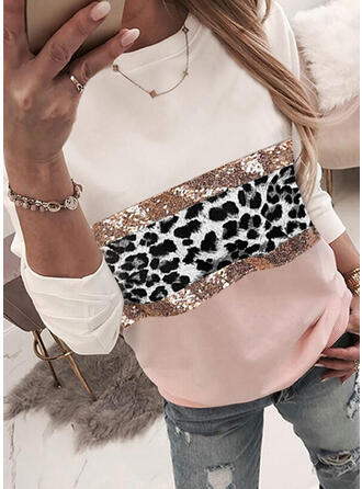Color Block Leopard Sequins Round Neck Long Sleeves Sweatshirt